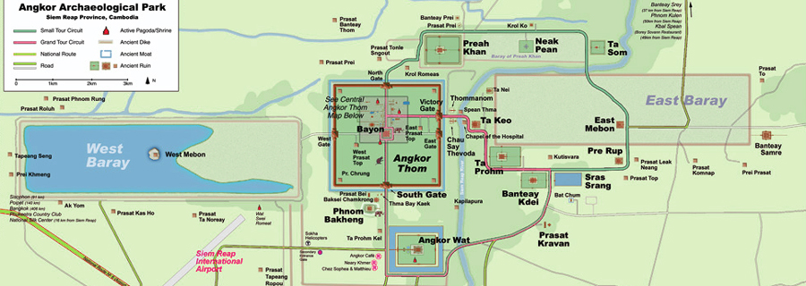 Angkor Wat Karte.Angkor Map And Overview A Tourist Introduction